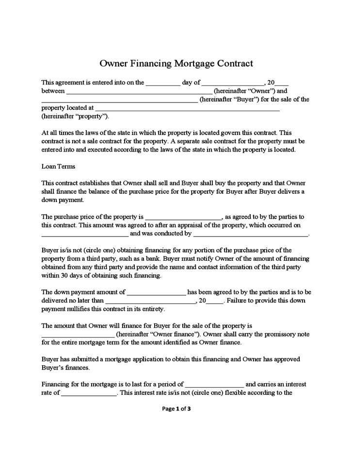 free owner financing mortgage contract sample