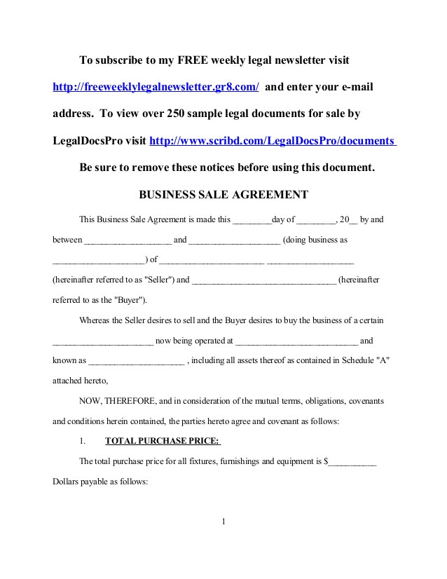 free sample business sale agreement