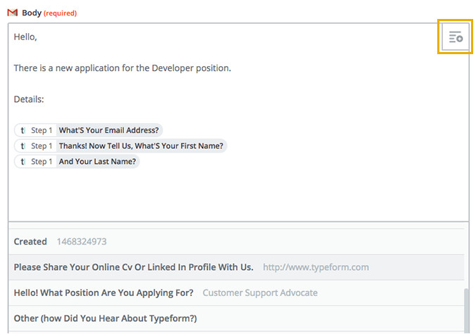 set up notification emails based on answers