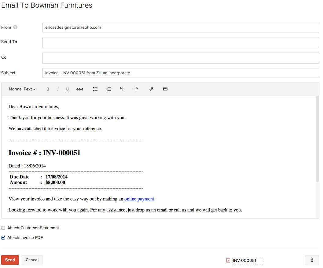 Sending An Invoice Via Email Template Invoices Help Document