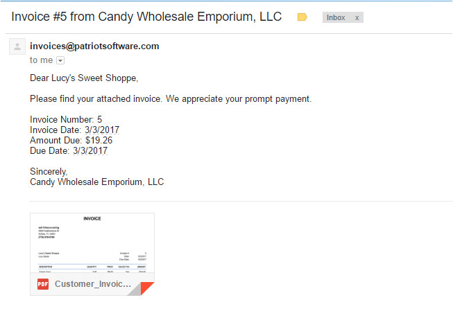 emailing invoices customers