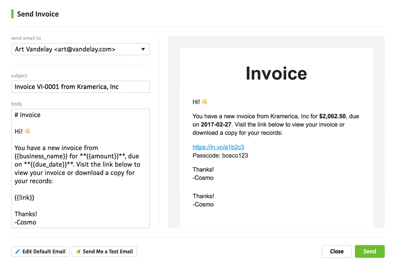 sending invoices