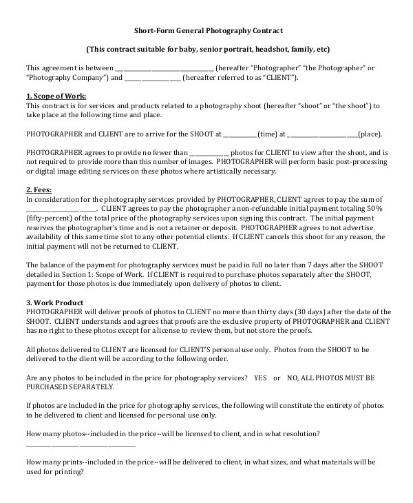 Senior Photography Contract Template Photography Contract Example 17 Free Word Pdf Documents
