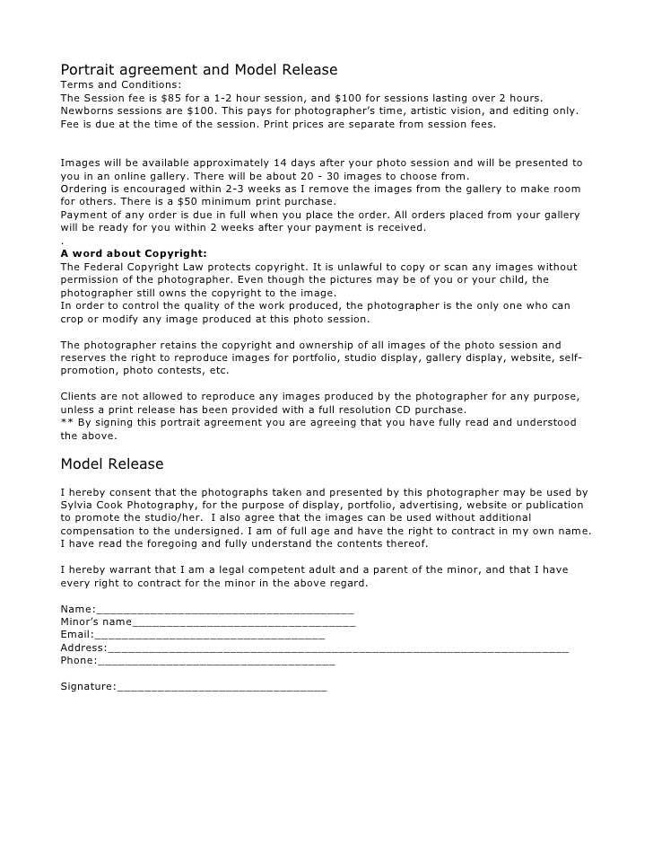 portrait session model release form contract