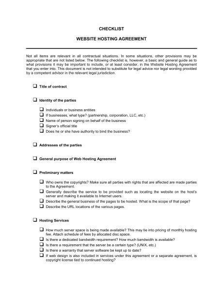 checklist website hosting agreement d770