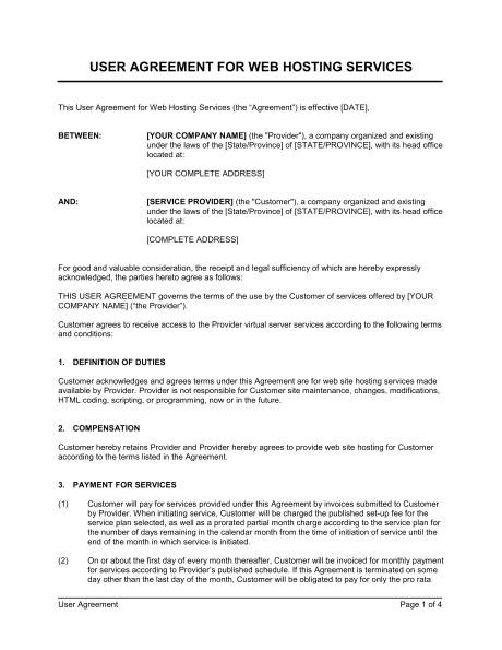 user agreement for web hosting services d775