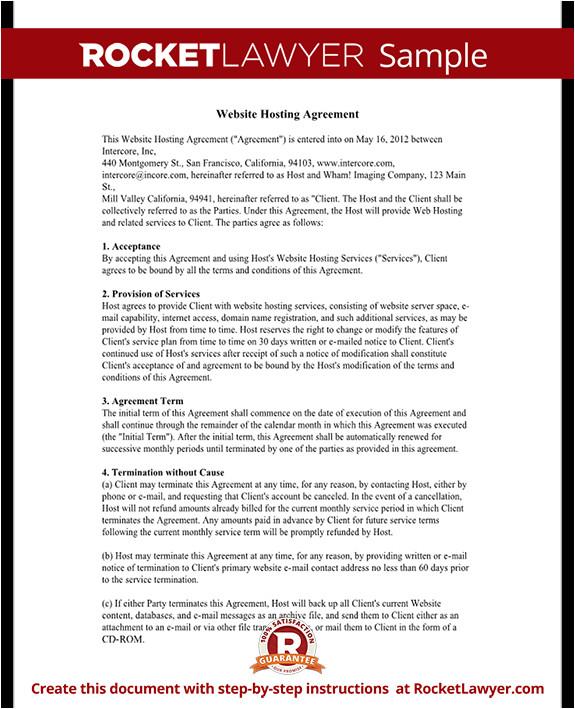 web hosting agreement rl