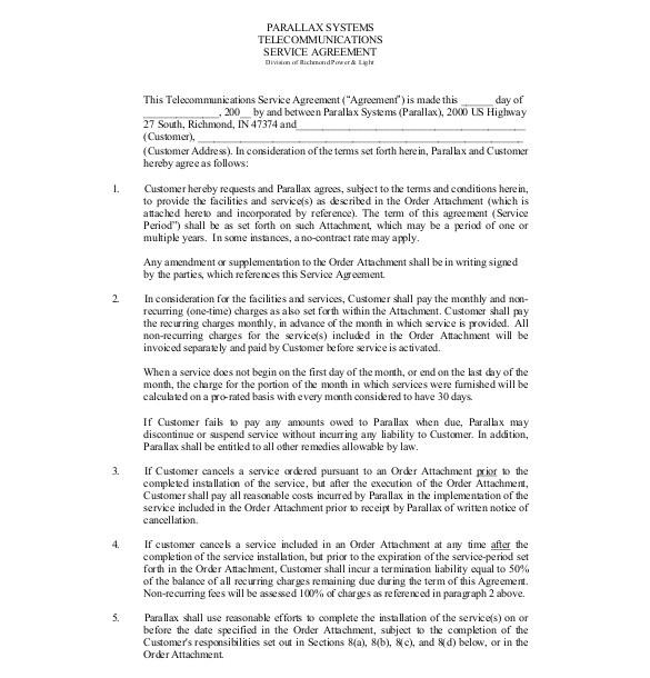 sample service agreement