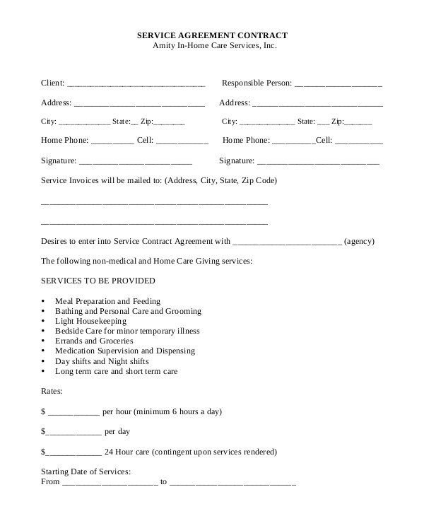 Service Agreement Contract Template Free Sample Service Contract 20 Examples In Pdf Word