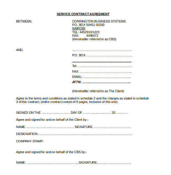 Service Agreements and Contracts Templates 21 Contract Agreement Templates Word Pdf Pages Free