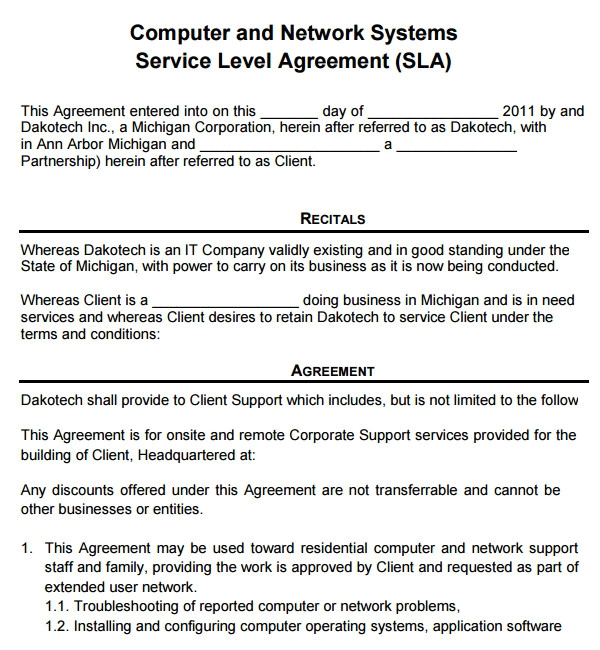Service Agreements and Contracts Templates Sample Service Agreement Template 17 Free Documents