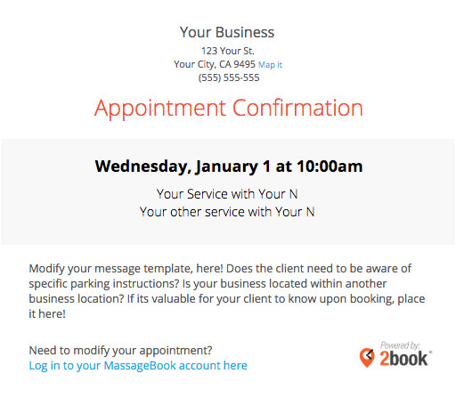 Service Appointment Confirmation Email Templates Sending Automated Appointment Emails to Clients Massagebook