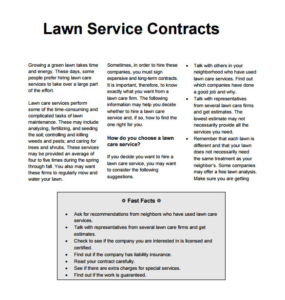 lawn care contract printable templates
