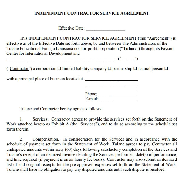 Service Contract Template Pdf Sample Service Agreement Template 17 Free Documents