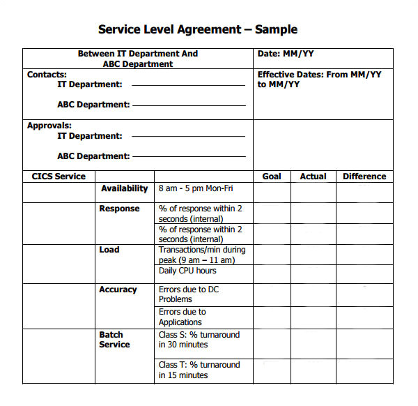 Service Contract Template Pdf Service Level Agreement 9 Download Free Documents In