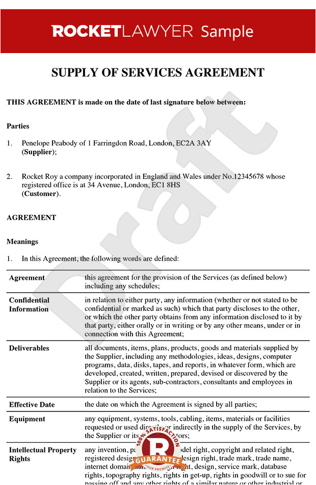 Services Agreement Contract Template Service Contract Service Agreement Service Contract