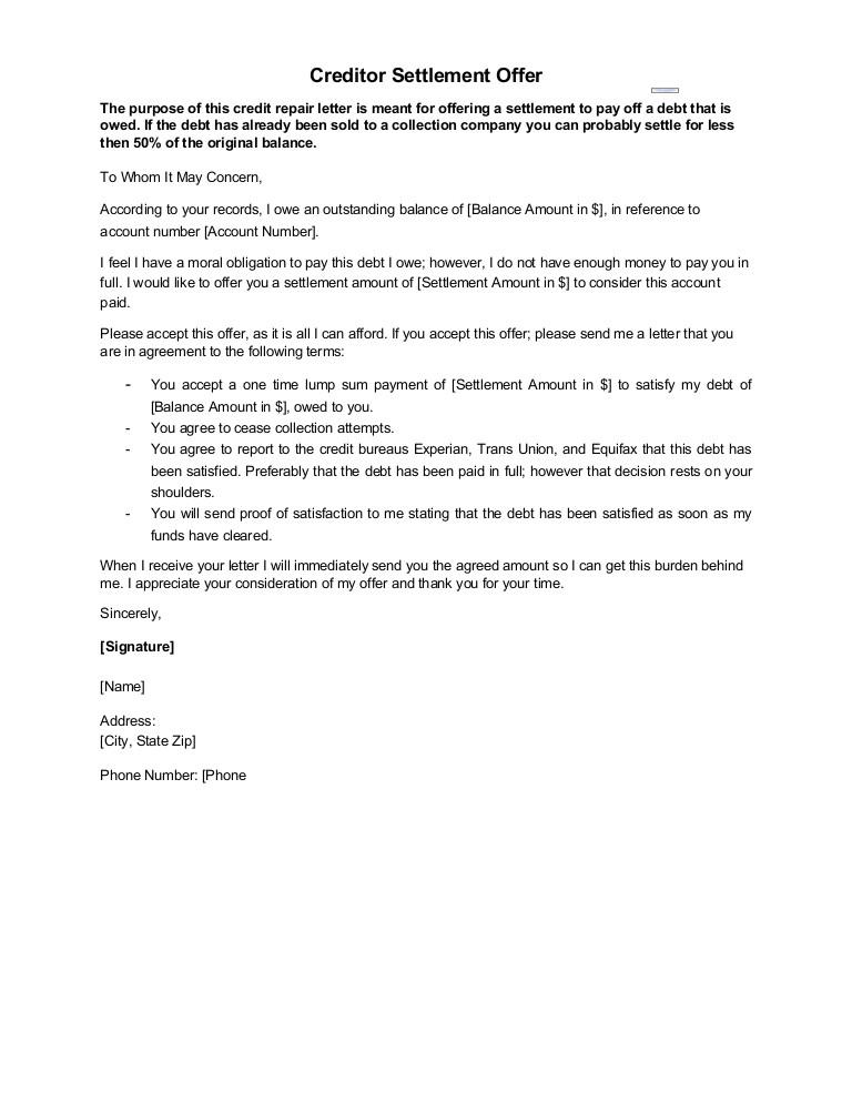 sample letter creditor settlement offer