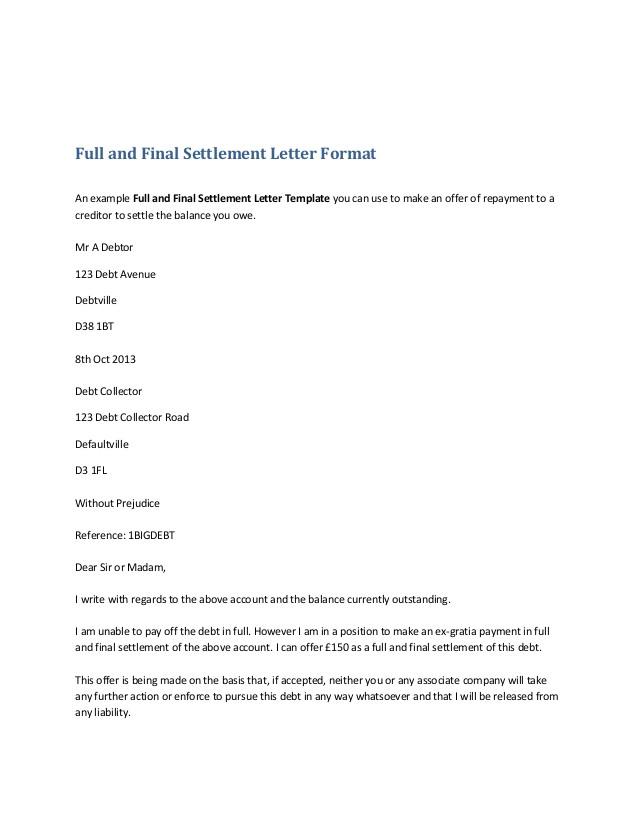 Settlement Email Template Settlement Letter format