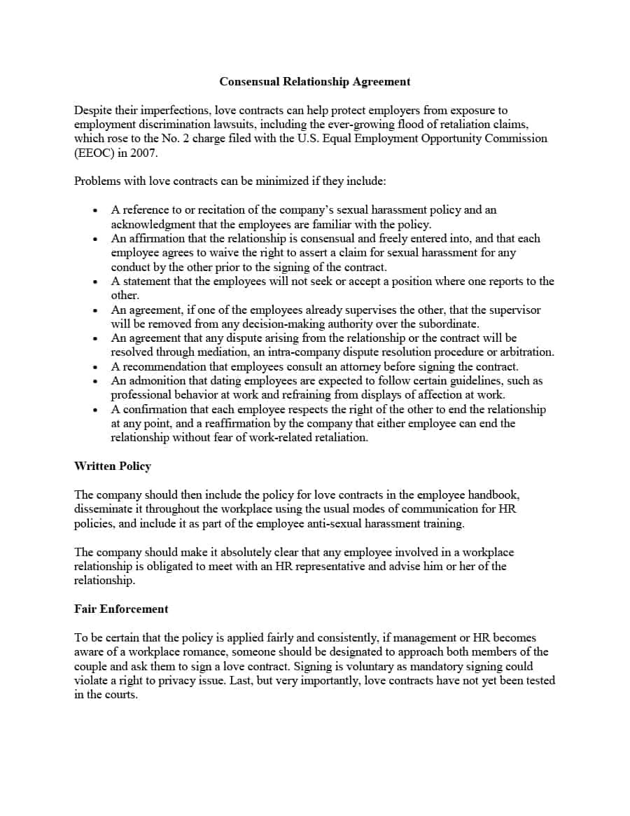 Sex Contract Template 20 Relationship Contract Templates Relationship Agreements