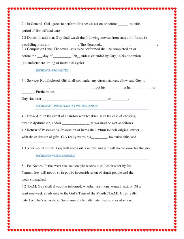 Sex Contract Template Dating Contract