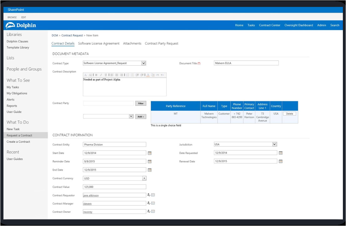 Sharepoint Contract Management Template Dolphin Contract Manager for Microsoft Sharepoint