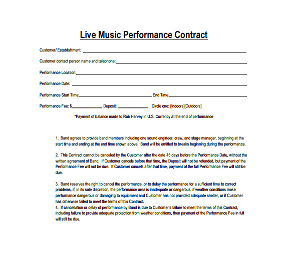 Simple Band Contract Template Performance Contract Template 14 Download Free