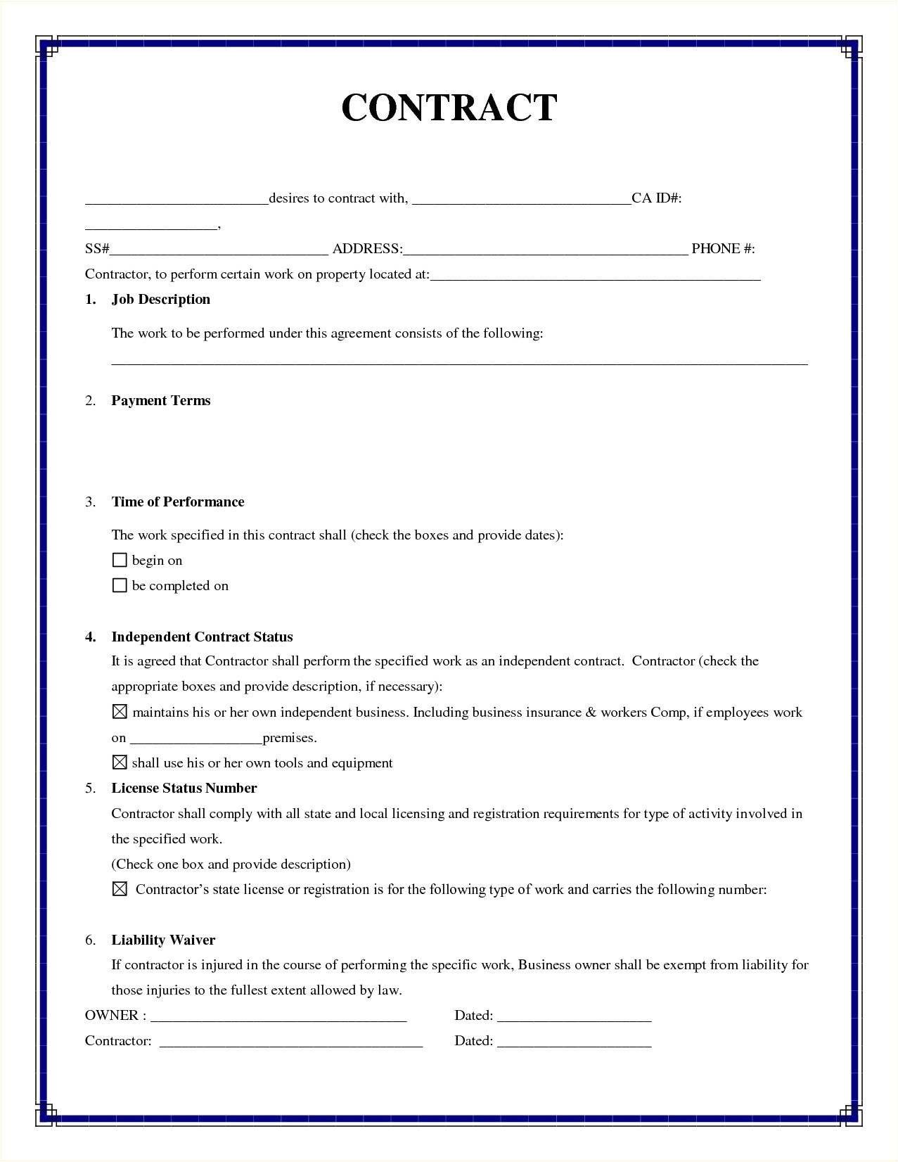 Simple Works Contract Template Simple Contract Agreement Business Mentor