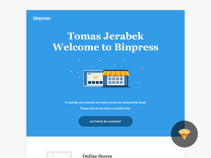 1335 binpress welcome email sketch freebie resource