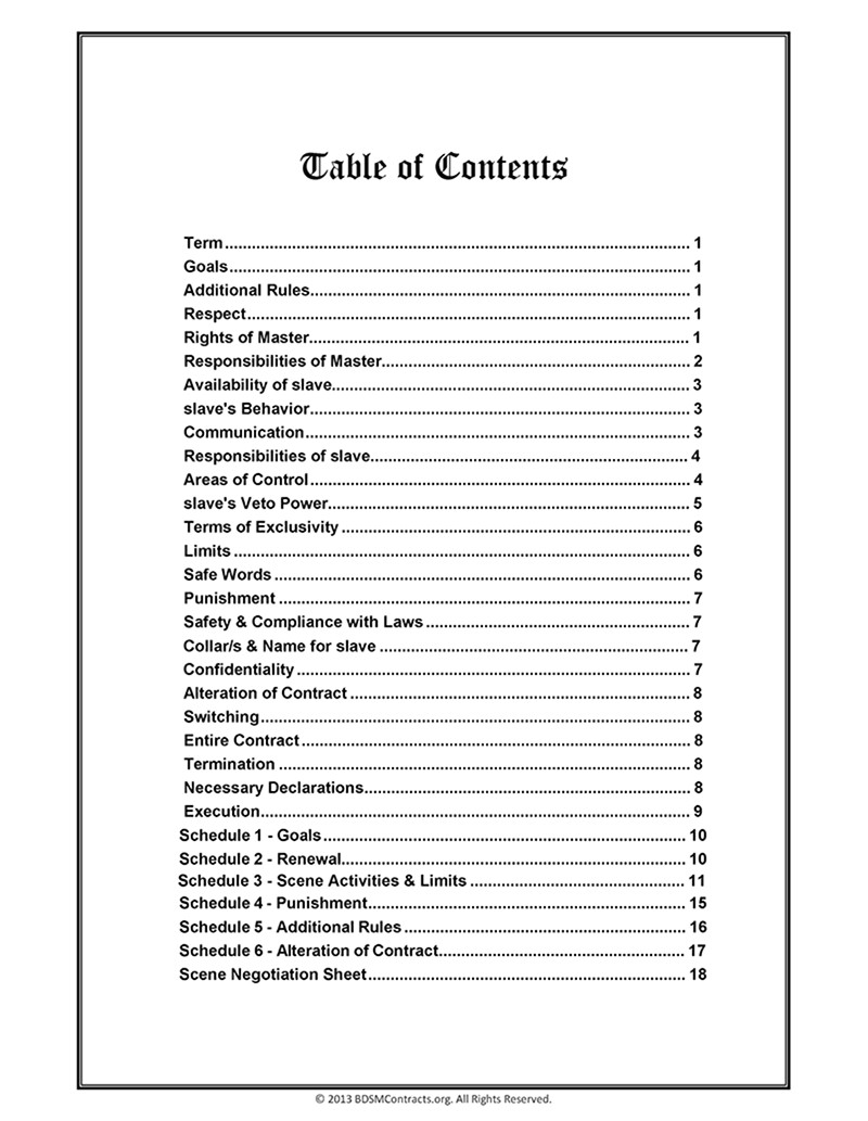 Slave Contract Template Bdsm Master Slave Contract