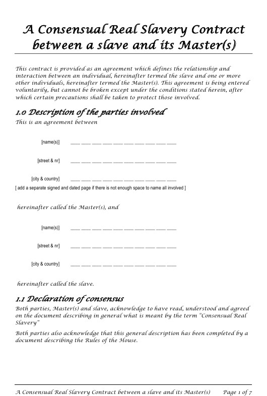 master s slave consensual real slavery contract template
