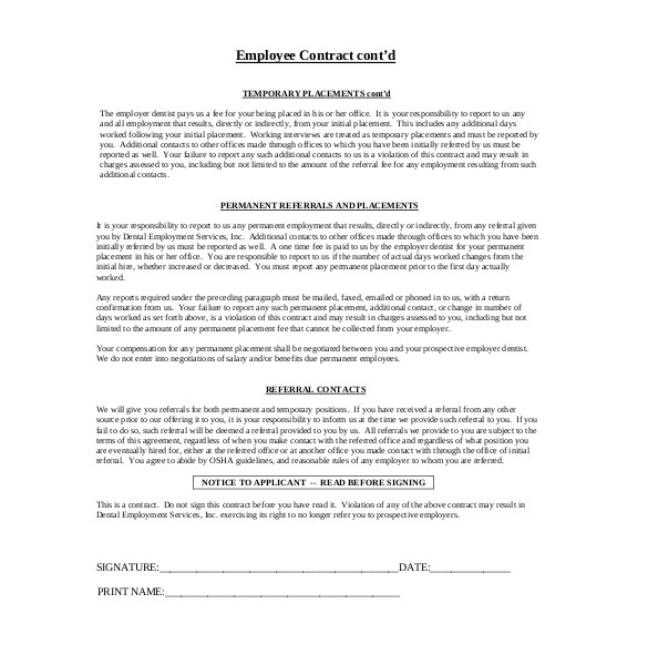 Small Business Employee Contract Template 24 Employee Agreement Templates Word Pdf Apple Pages