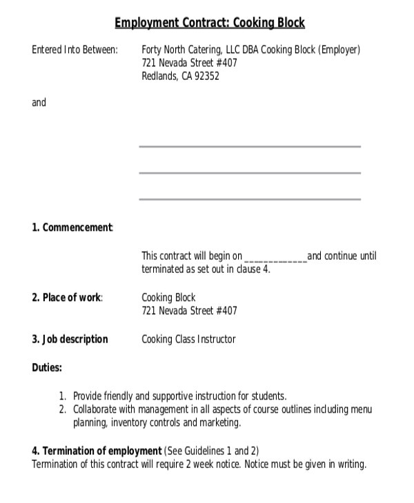 employee contract templates