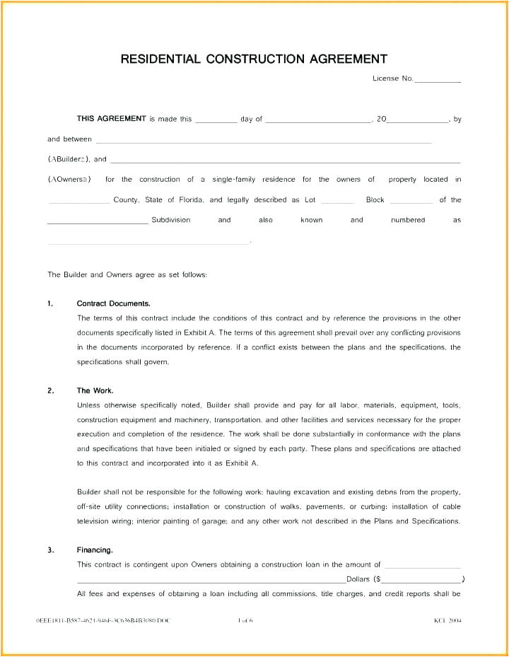 small works contract template
