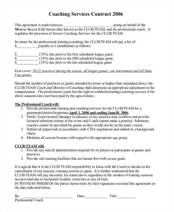 coaching contract templates