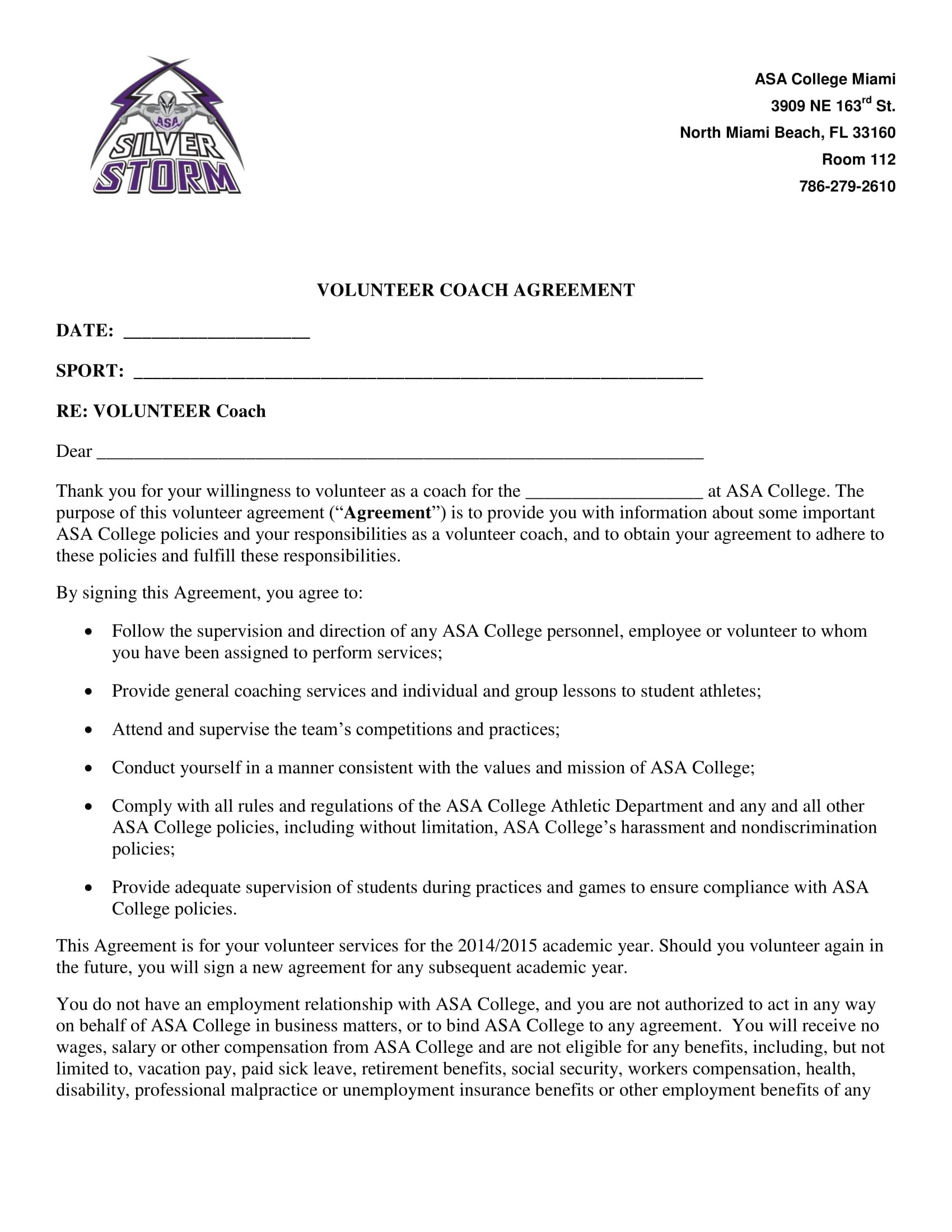 sports coach contract