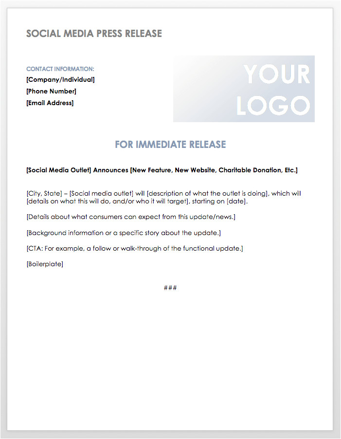Social Media Announcement Email Template Free Press Release Templates Smartsheet