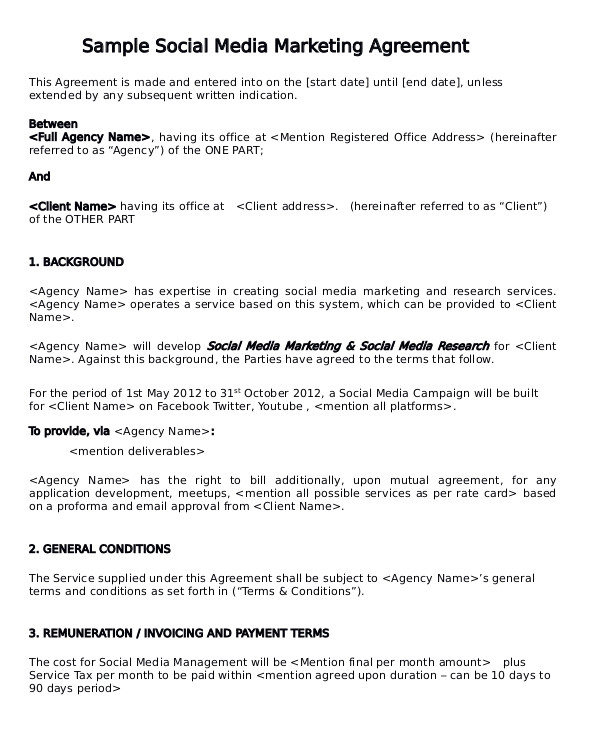 Social Media Marketing Services Contract Template Sample Marketing Consulting Agreement 13 Documents In Pdf
