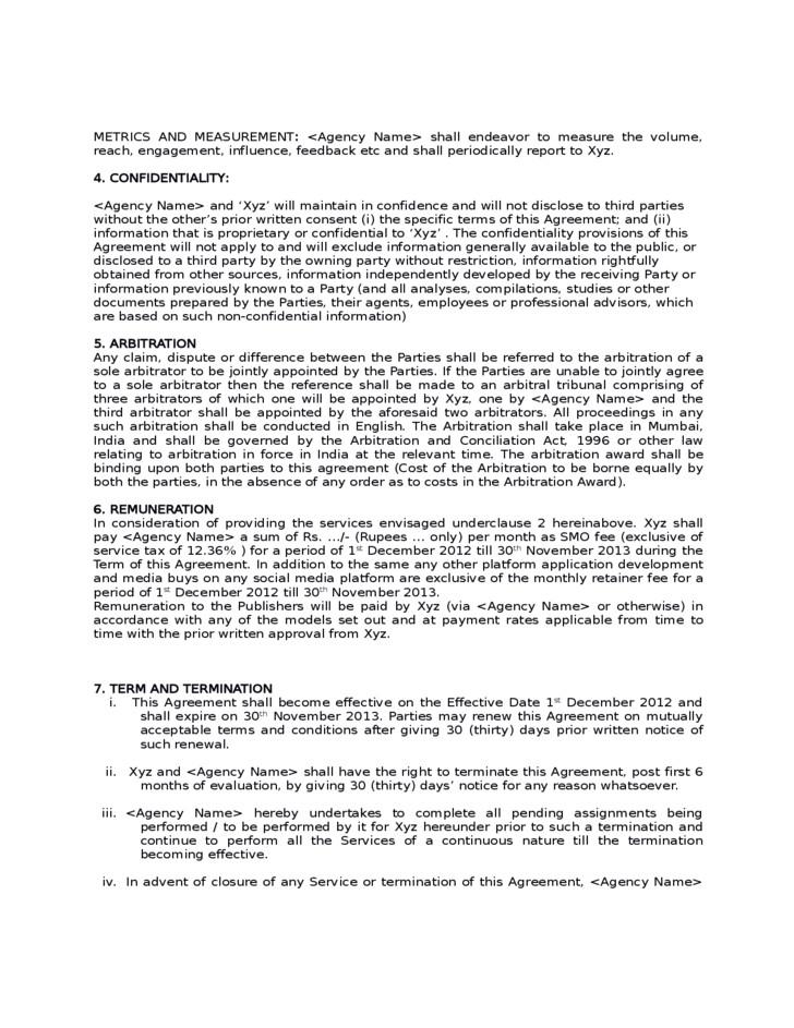 free sample social media marketing agreement 7