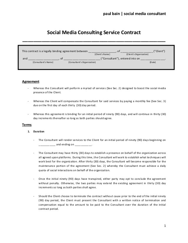 social media consulting service contract