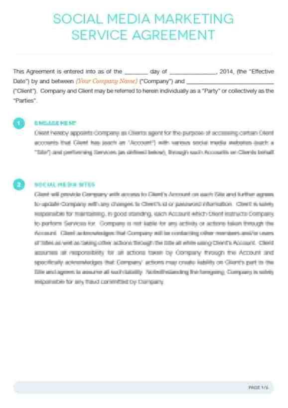 social media contract templates