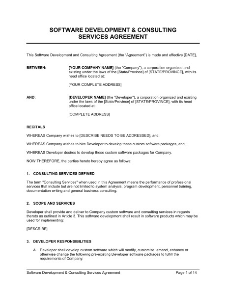 Software Consulting Contract Template software Development and Consulting Services Agreement