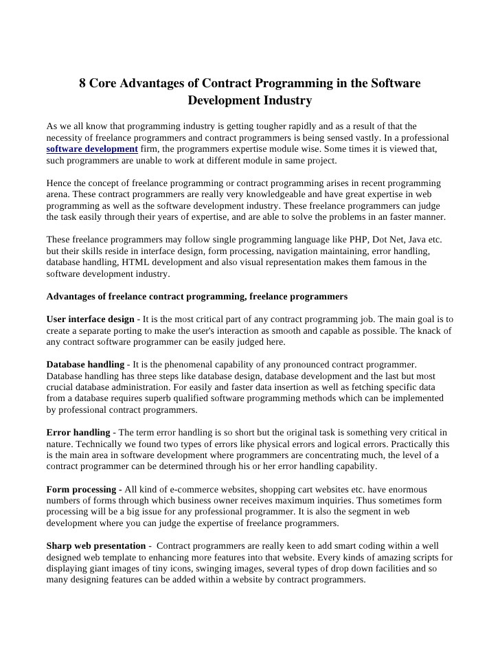 8 core advantages of contract programming in the software development industry