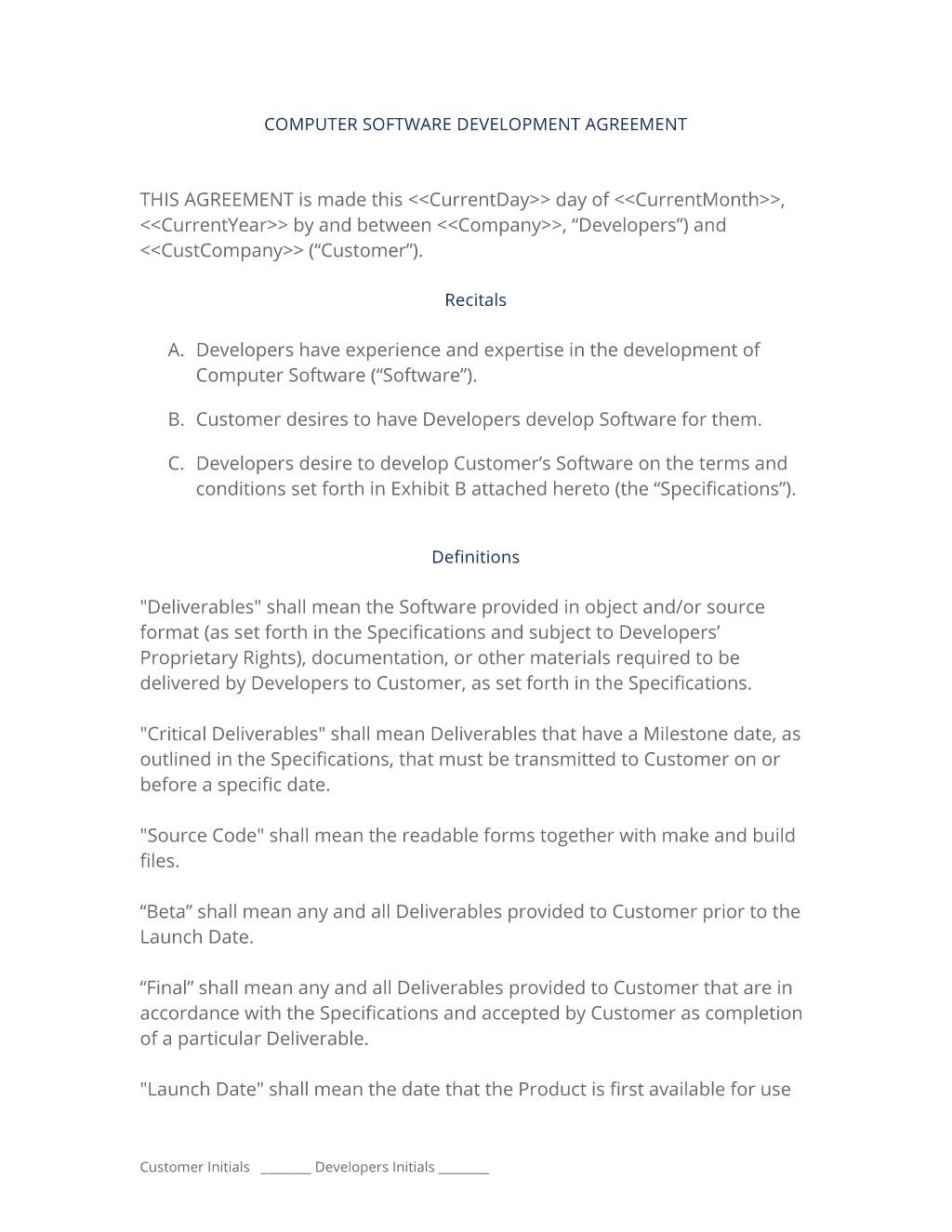 Software Developer Employment Contract Template software Development Contract 3 Easy Steps