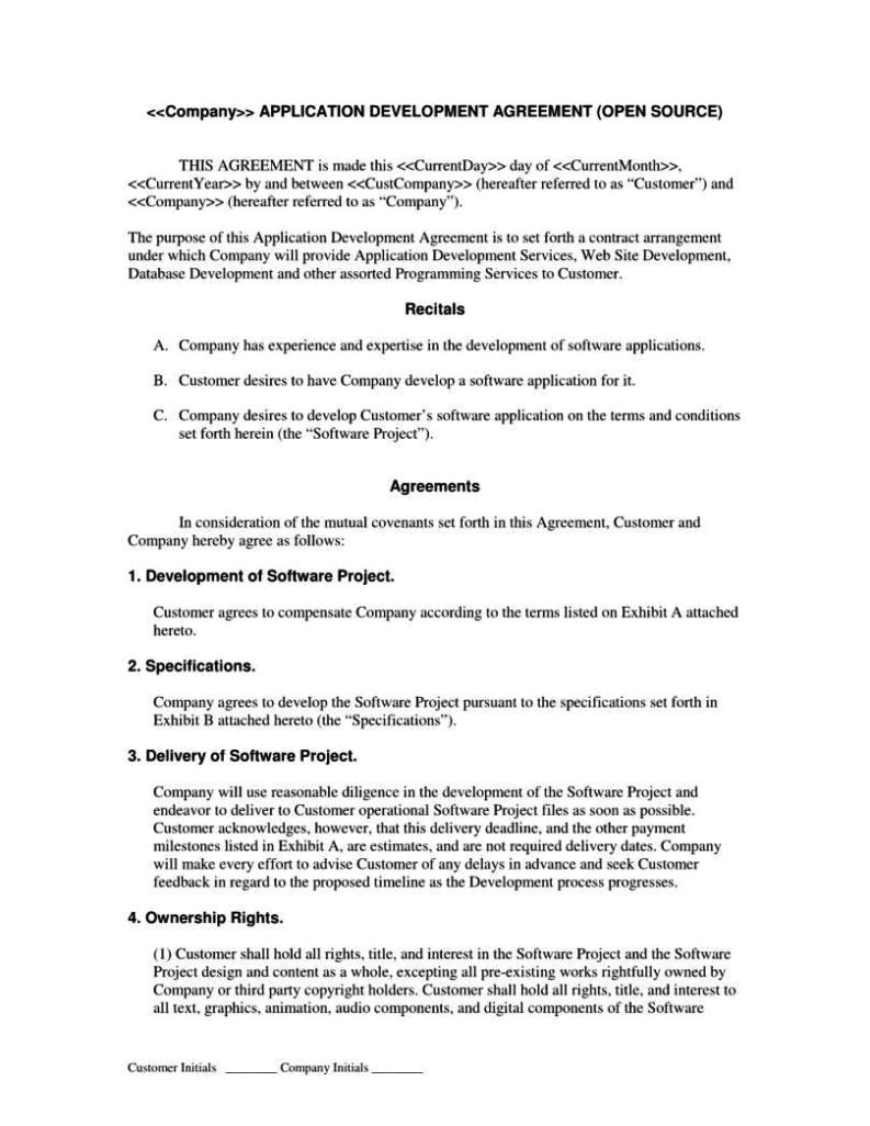 software development contract template free