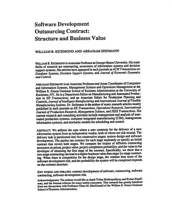 Software Development Outsourcing Contract Template 3 software Development Outsourcing Contract Templates