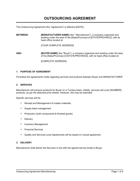 outsourcing agreement manufacturing d898