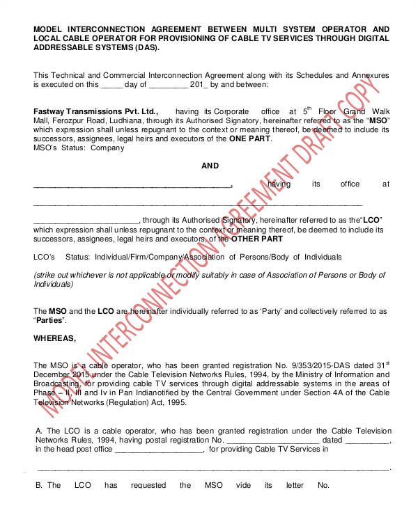 interconnection agreement template