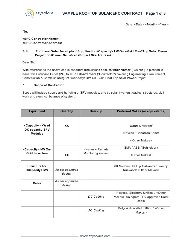 Solar Pv Maintenance Contract Template Sample Rooftop solar Epc Contract Ezysolare