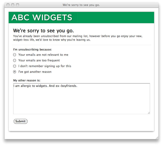 find out reasons for unsubscribing with a quick exit survey