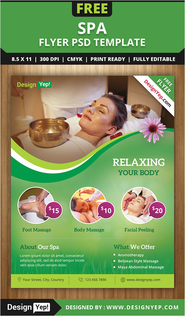 free spa flyer psd template for download